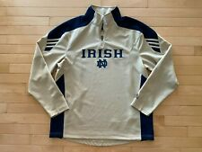 Vintage Adidas Mens Sz M Notre Dame 1/4 Zip Long Sleeve Polo Gold Scorch