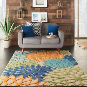 "Nourison Aloha Indoor/Outdoor Floral Blue Multicolor 5'3"" x 7'5"" Area Rug"