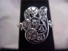 *ANTIQUE*ART-DECO*STUNNING DIAMOND COCKTAIL RING 14K WHITE GOLD sz5.75 *BUY NOW*