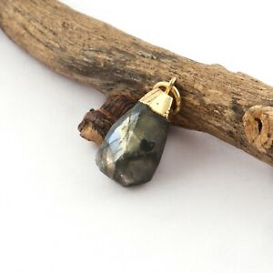 Raw Look Blue Fire Natural Labradorite 24k Gold Plated Necklace Pendant Jewelry