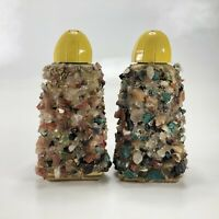 "Rock Pedestal Vintage Salt and Pepper Shakers 3.5"" Set Of 2 Yellow Screw Off Top"