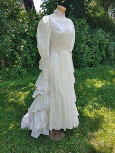 Vintage 80s 90s Wedding Gown Dress Victorian Edwardian