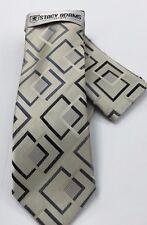 Stacy Adams Men's Tie & Hanky Set Beige, Black & Gray Hand Made 100% Microfiber