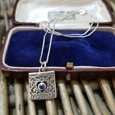 """JEZLAINE 925 SILVER NECKLACE,SAPPHIRE,ENGRAVED """"DECEMBER - YOU ARE FRIENDLY"""""""