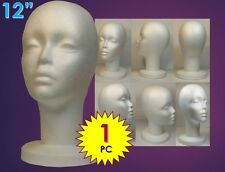 "WIG FEMALE STYROFOAM HEAD FOAM MANNEQUIN DISPLAY 12""(1PC)"