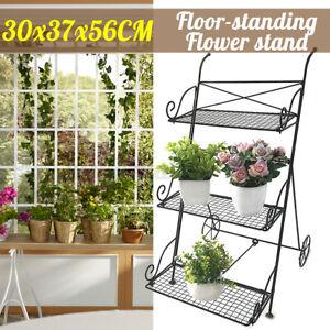 3-Tier Flower Pot Garden Metal Cart Shelf Stand Plant Rack Indoor Outdoor Holder