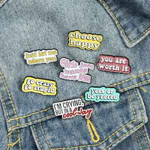 "Enamel Brooch Pin Personalized funny quotes brooch ""Happy Duty"" Lapel Pins Gifts"