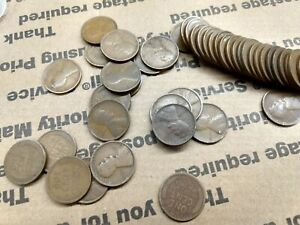 1909 P Lincoln Wheat Cent Penny 50 Coin Roll Average / NICE Circulated (NO VDB)