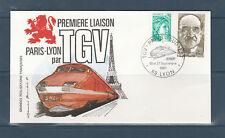 FRb enveloppe  train TGV  Paris sud est  69 Lyon    1981
