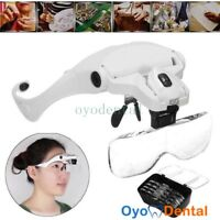 5 Lens Dental Loupes Dentist Magnifier Surgical Binocular Glass 2 Led Head Light