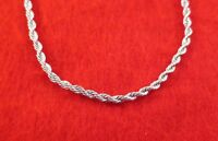 30 INCH 14KT WHITE GOLD EP 3MM ROPE CHAIN NECKLACE