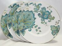 222 Fifth Norah Teal Round Porcelain Salad Plates Floral Paisley Set of Four New