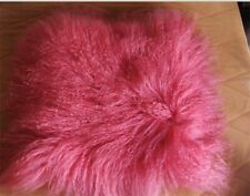 100% Real Mongolian Fur Square  Rose Red Pillowcase Cover Seat Pillow Cushion