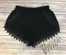Lovely Day Women's Black Elastic High Waist Lace Shorts Size M
