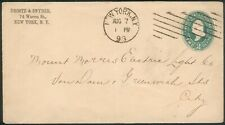 USA orig. Cover 2Cent green New York 1893 to Greenwich/England, RARE