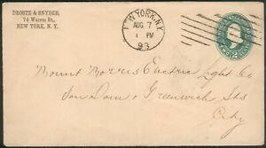 USA orig. Cover 2Cent green New York 1893 to Greenwich/England, RARE
