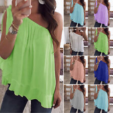 Womens Chiffon One Off Shoulder T-Shirt Summer Casual Loose Vest Tank Top Blouse