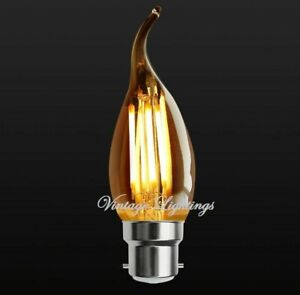 C35 Vintage LED Bulb Filament Antique Style Industrial Edison E27 B22 Pack Of 4