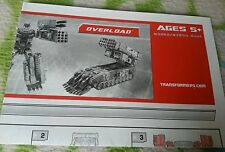 Transformers UNIVERSE OVERLOAD INSTRUCTION BOOKLET ONLY