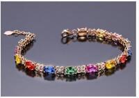 18K Rose gold Solid Multi-color sapphire Women's Tennis bracelet 17cm