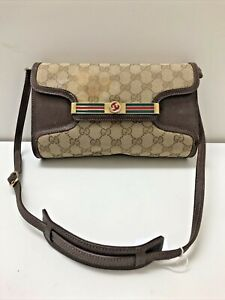 Authentic vintage Gucci GG monogram canvas brown leather crossbody shoulder bag
