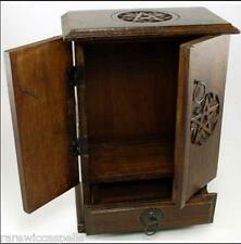 "Pentagram Cupboard Wooden Herb Chest Altar Wicca Witch Pentacle 10 1/2"" inch"