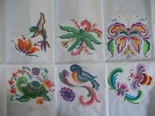 EMBROIDERED ROSMALING STYLE STITCHED ANIMAL QUILT SQUARES - SET #1