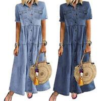 KQ_ Retro Women Denim Dress Short Sleeve Stand Collar Pockets Button Loose Dress