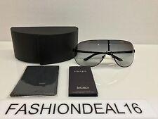 New Prada Authentic Black Gray Oversized SPR60N 7AX-3M1 Sunglasses