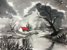 Original (15x11 inch) Painting by Bill Lupton  - Red Roof