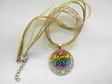 """LGBTQ+ """"Born This Gay"""" Necklace LGBT Rainbow Lesbian Pride Silver Tone Organza"""