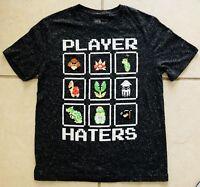 Nintendo Super Mario Bros Player Hater Gamer Graphic Dark Gray T-Shirt Medium M