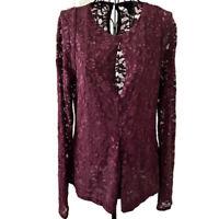Moda International Burgundy Lace Keyhole Top Pleated Long Sleeve Size Medium