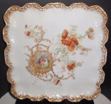 "LS&S Limoges Porcelain Tray Serving Plate 10 1/2"" Square Elizabethan Lovers"
