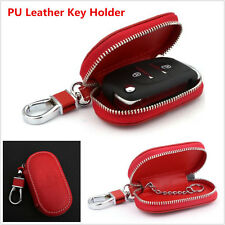 1x Universal PU Leather Auto Car Truck Smart Remote Key Holder Fob Bag Case Red