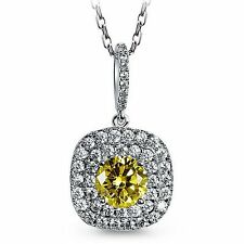 18K White Gold Plated Yellow Topaz Crystal Square Drop Bridal Necklace N37