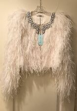 REDUCED Authentic Givenchy White Ostrich Feather Beaded Jacket Size 40 NWT $3850