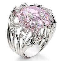 Exquisite 925 Silver Pink Sapphire Ring Bride Wedding Engagement Fine Jewelry