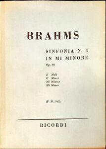 BRAHMS SINFONIA N. 4 IN MI MINORE - RICORDI 1978