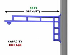 Gorbel Work Station Jib Crane Wall Mounted 12 Ton Capacity Span 10 Ft