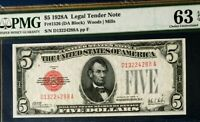 1928A $5 PMG63 EPQ CHOICE UNCIRCULATED US LEGAL TENDER NOTE WOODS/MILLS RED SEAL