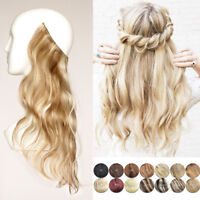 THICK LONG WAVY 100% HUMAN REMY HALO SECRET INVISIBLE WIRE HAIR EXTENSIONS 100g