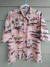 Vtg Campia Moda Swordfish Boats And Palm Trees Cotton Shirt 2xl