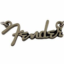 Fender Text Silver Guitar Chrome Metal Licensed Officially Necklace Pendant New.