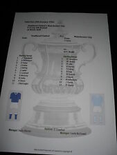 FA Cup 1955-56 4th ROUND Southend United V Manchester City matchsheet