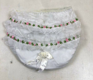 Vtg Lace Ruffles Embroidered Pink Floral Baby Diaper Plastic Pants Small BX53