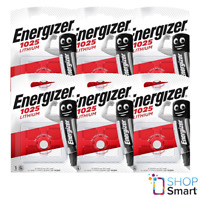 6 ENERGIZER CR1025 LITHIUM BATTERY 3V CELL COIN BUTTON EXP 2030 NEW