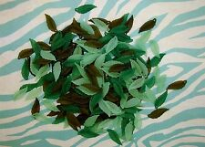 LOOSE ACRYLIC-LUCITE BEADS-LONG LEAF-LEAVES-GREEN-BROWN-45 BEADS-PLUS FREE GIFT