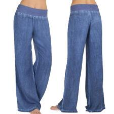 Women Casual High Waist Elasticity Denim Wide Leg Palazzo Pants Jeans Trousers Blue 2xl
