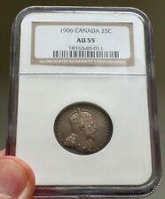 1906 Canada 25 Cents - NGC AU 55 - Book Value $700 - AU-55 - Nice Coin